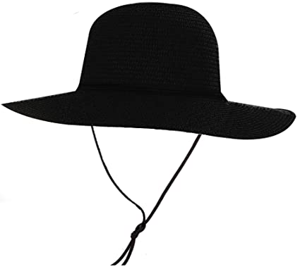 109b5857d31 Simplicity Women s UPF 50+ Wide Brim Braided Straw Sun Hat with Lanyard  Black