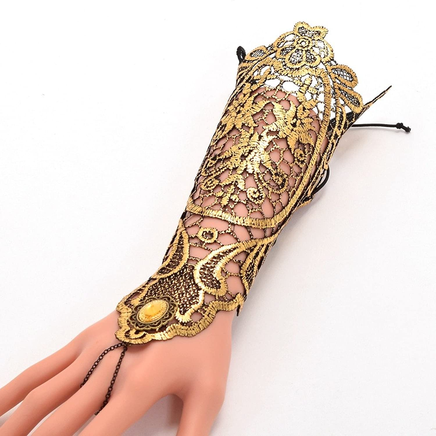 Amazon.com: 1pc Vintage Gothic Queen Golden Lace Gloves Medieval Victorian Armband Cosplay Accessory: Clothing