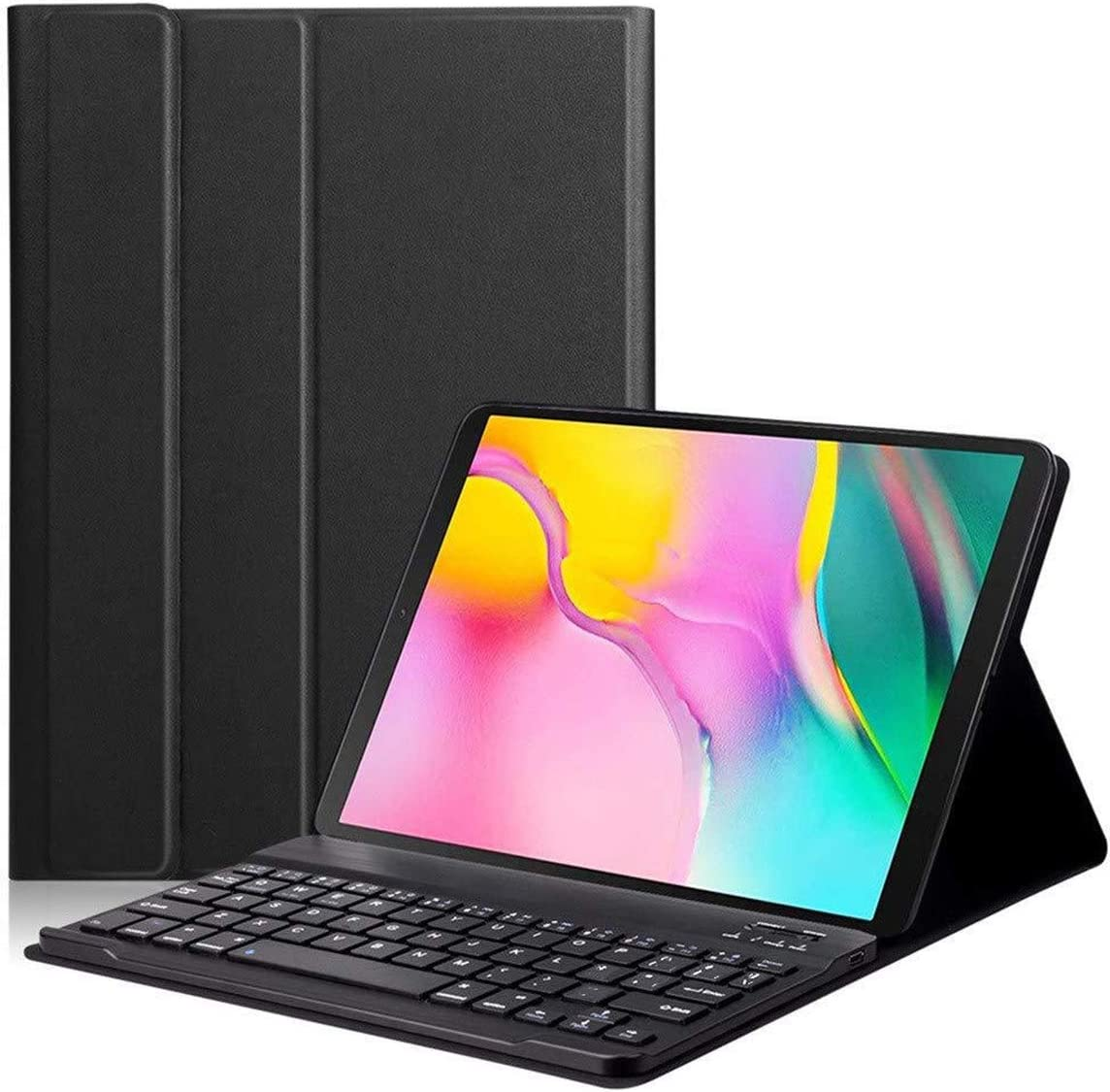 KILISON Funda con Español Teclado Estuche para Samsung Galaxy Tab A 2019 T510/T515 10.1, [Diseño Español Ñ] Teclado Bluetooth Inalámbrico Magnético Desmontable para Samsung Galaxy Tab A 10.1, Negro