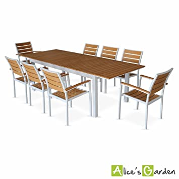 Alice\'s Garden - Salon de jardin table extensible - Seattle Marron ...