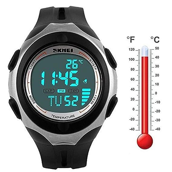 amyove Hot Sale Termómetro Cronómetro Luz Waterproof Fecha Alarma LED Digital Sport reloj de muñeca 1