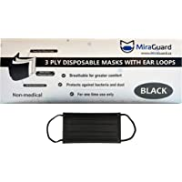 MiraGuard – Non medical Disposable 3-ply Comfortable Ear Loop Face Masks (50pc) - Adult Size (Black)