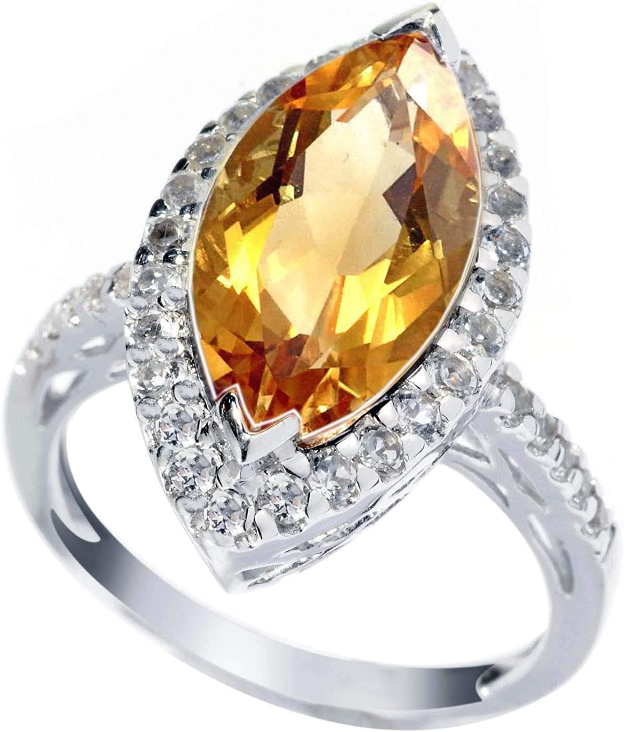 Citrine and white Topaz,Sterling,925 Sterling silver Ring,Natural Gemstone Ring,citrine topaz Jewelry,Citrine Topaz Ring,Woman Fashion