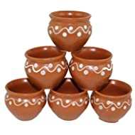 Odishabazaar Kulhar Kulhad Cups Traditional Indian Chai Tea Cup Set of 6 (2.7 oz)