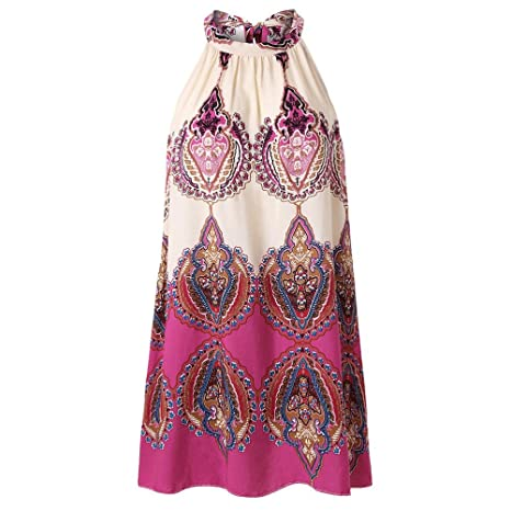 uface Women s Sleeveless Flower plana Floral Print Dress Casual Sleeveless plana Neck boho Print S Outdoor, rosa, large: Amazon.es: Deportes y aire libre