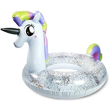 Amazon.com: Flotadores de piscina Rainbow Unicorn – tubo de ...