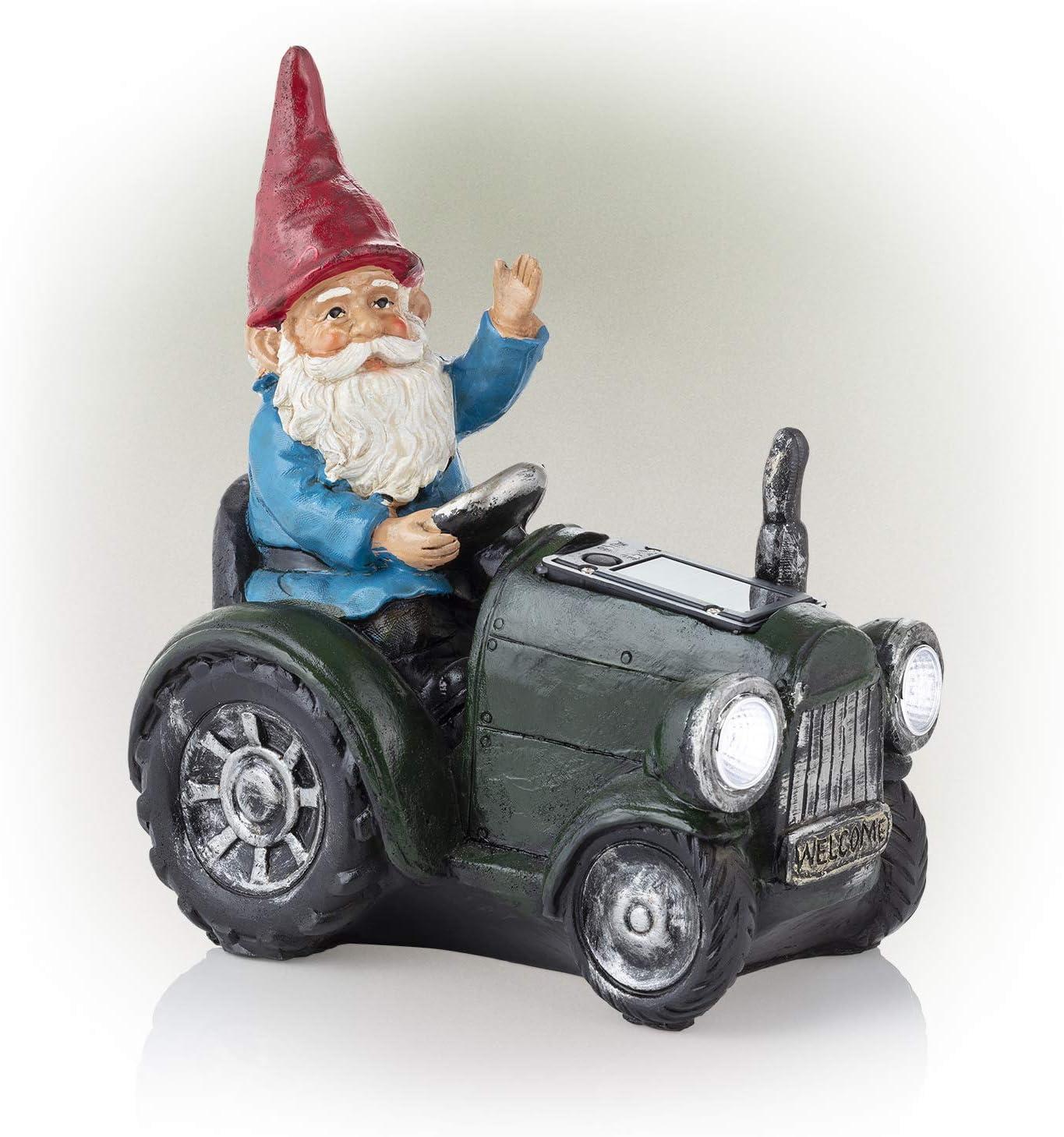 Alpine Corporation WQA1378SLR-GN Alpine Solar Green Riding Gnome Tractor Statue