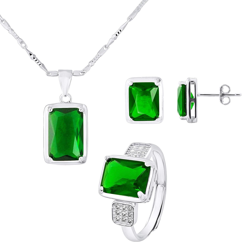 Emerald Color Joaillerie Prestige Parure Argent Massif 925 Milli/èmes Bijou Femme Essens