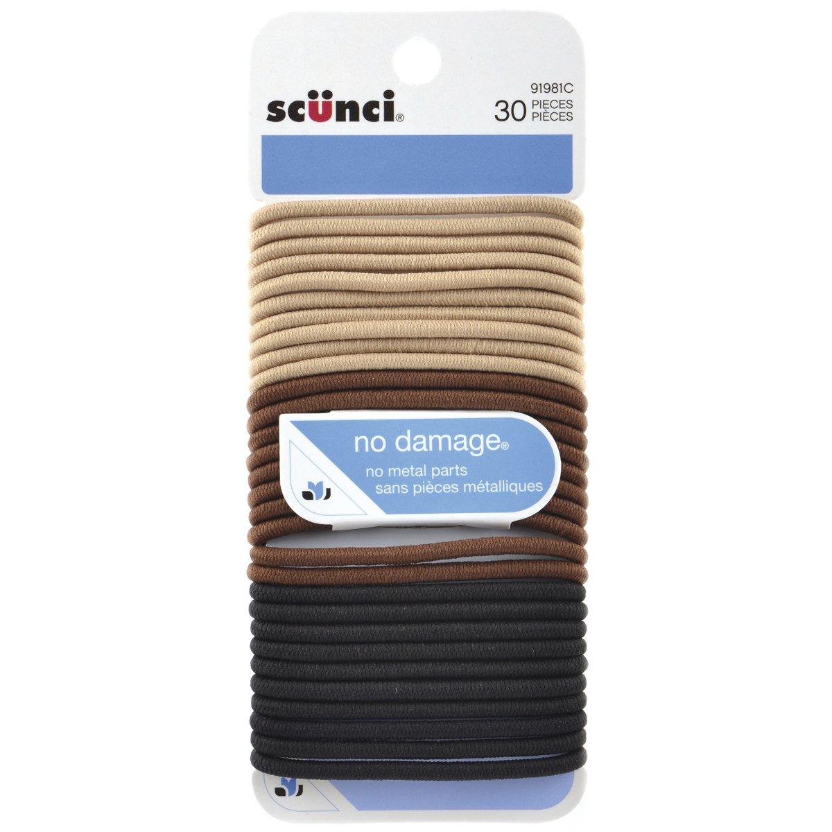 Conair Scunci 9198103a048c 30 Piece, 4 Millimeter, No-damage Elastics, Khaki, 1 Count Conair Consumer Products ULC