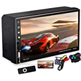 7 Inch Double Din Car Stereo with Capacitive Touchscreen and Bluetooth Handsfree, 2 Din FM Radio Receiver with Backup Camera,