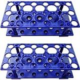 Test Tube Rack, Centrifuge Tube Holder (2 Pack - Blue) for 10ml, 15ml, 50ml, Detachable Plastic Stand, 28 Well (Blue)