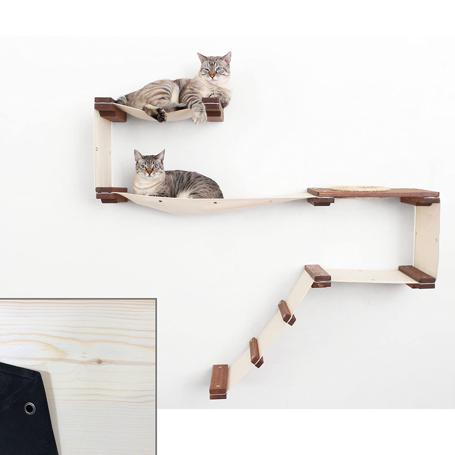 Unfinished   Black CatastrophiCreations Cat Mod Play Handcrafted Wall-Mounted Activity Cat Tree Shelves Unfinished Black