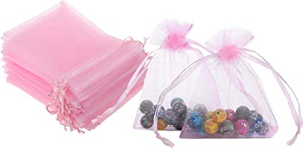 50 Bolsas De Regalo De 5 0 X 7 0 In Color Rosa Organza Transparente Transparente De Tela Con Cordón De Cinta De Satén Para Regalo De Baby Shower Fiesta De Boda Decoración