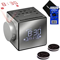 New & Improved - Sony Projector Dual Alarm Clock with Extendable Snooze, 5 Nature Sounds, AM/FM Radio, Built-in Calendar…