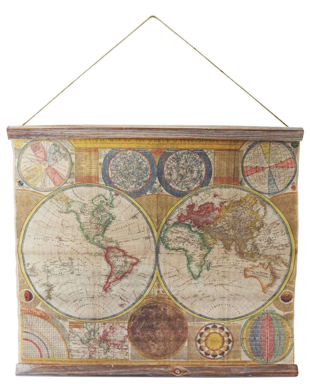 Landkarte Weltkarte historische Karte 90cm Wandkarte Kontinente Antik-Stil world