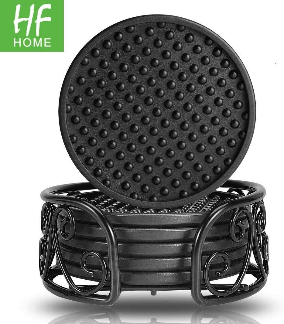 Drink Coasters Set of 6 Packs with Holder, HFHOME Round Black BPA Free Silicone with Non-Slip Bottom Fits Any Size Cup Mug or Glasses (Black)