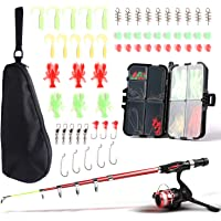 SupsShop Kids Fishing Rod and Reel Combo Full Kit,1.3M/1.6M Telescopic Fishing Pole Fishing Gear Spinning Reel with…