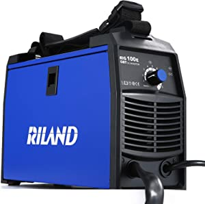 RILAND MIG Welder 110v, MIG Welding Machine, Automatic Wire Feed Welder, Flux Cored Welder with DIY Home Portable Welder Accessories 110/115/120V-MIG 100E