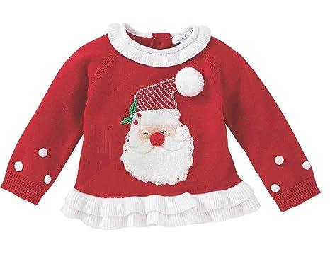 c2ad2841f25e Amazon.com: Mud Pie Womens Red Santa Christmas Ruffle Sweater  (Infant/Toddler): Clothing