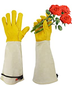 Gardening Gloves, Professional Puncture Proof Gloves for Rose Pruning & Cactus Trimming, Long Leather Garden Gloves Gifts for Women & Men- Full Grain Cowhide & Pigskin (Thorn Proof) (Large)