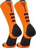 TCK Sports Lacrosse Logo Crew Socks (Neon Orange/Black, Large)