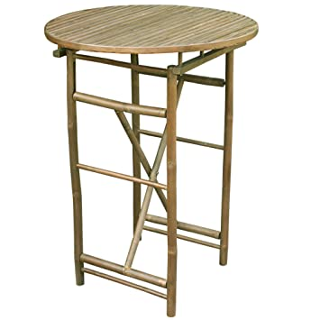 Zew Hand Crafted Round Bamboo Folding Bar Height Patio Table
