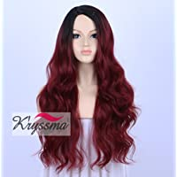 K'ryssma Ombre Red To 99J Long Synthetic Wigs For Women Machine Made 2 Tone Dark Roots Replacement Hair Wig Heat Resistant 24 Inches