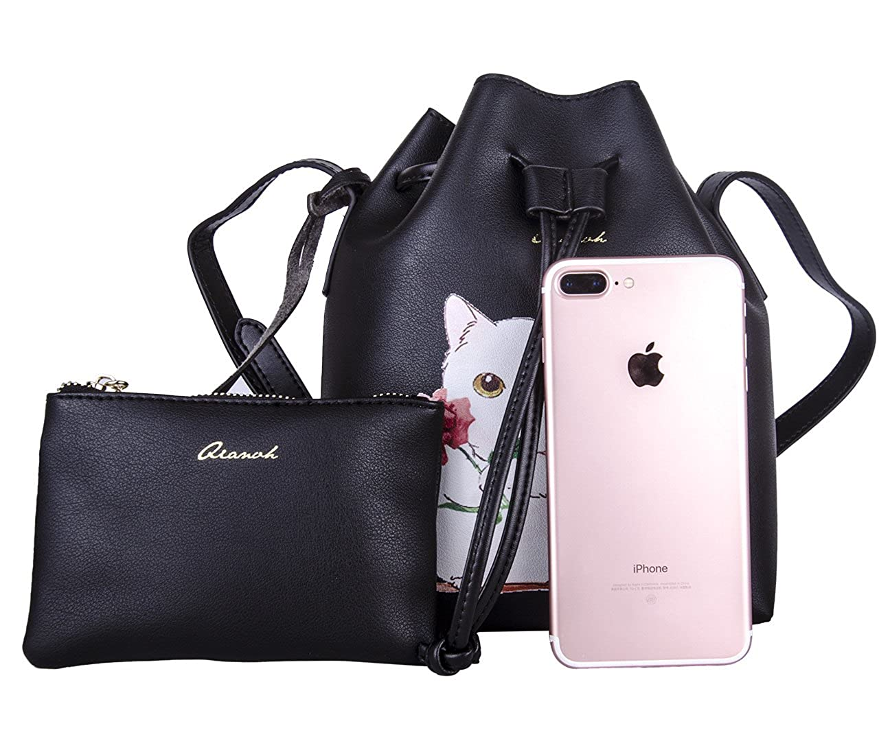 Cat Handbags for Women Leather Handbag Cute Top-handle Shopping Bag QIANBH  Black  Amazon.co.uk  Clothing a4e984ee87220