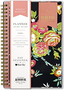 Day Designer for Blue Sky 2019 Weekly & Monthly Planner, Flexible Cover, Twin-Wire Binding, 5