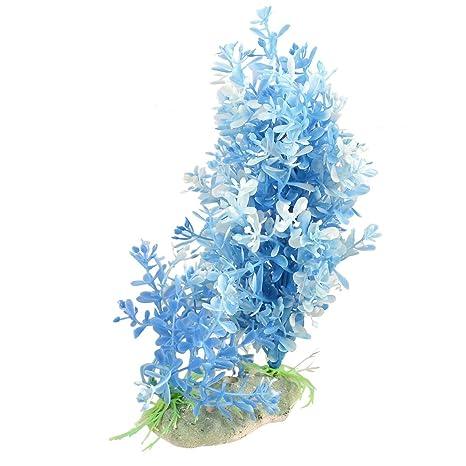 Azul y Blanco Ovalado Hojas Acuario Simulación Agua Planta Decoración 7.1Altura