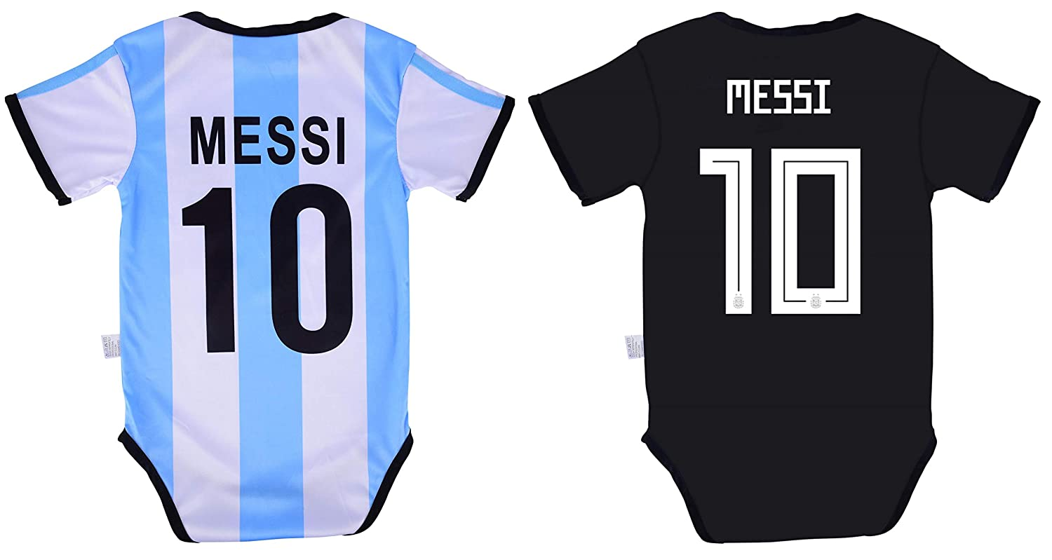 new arrival 9e9aa f7a14 World Cup Baby Lionel Messi #10 Argentina Soccer Jersey Baby Infant and  Toddler Onesie Romper Premium Quality - Home and Away PACK OF 2