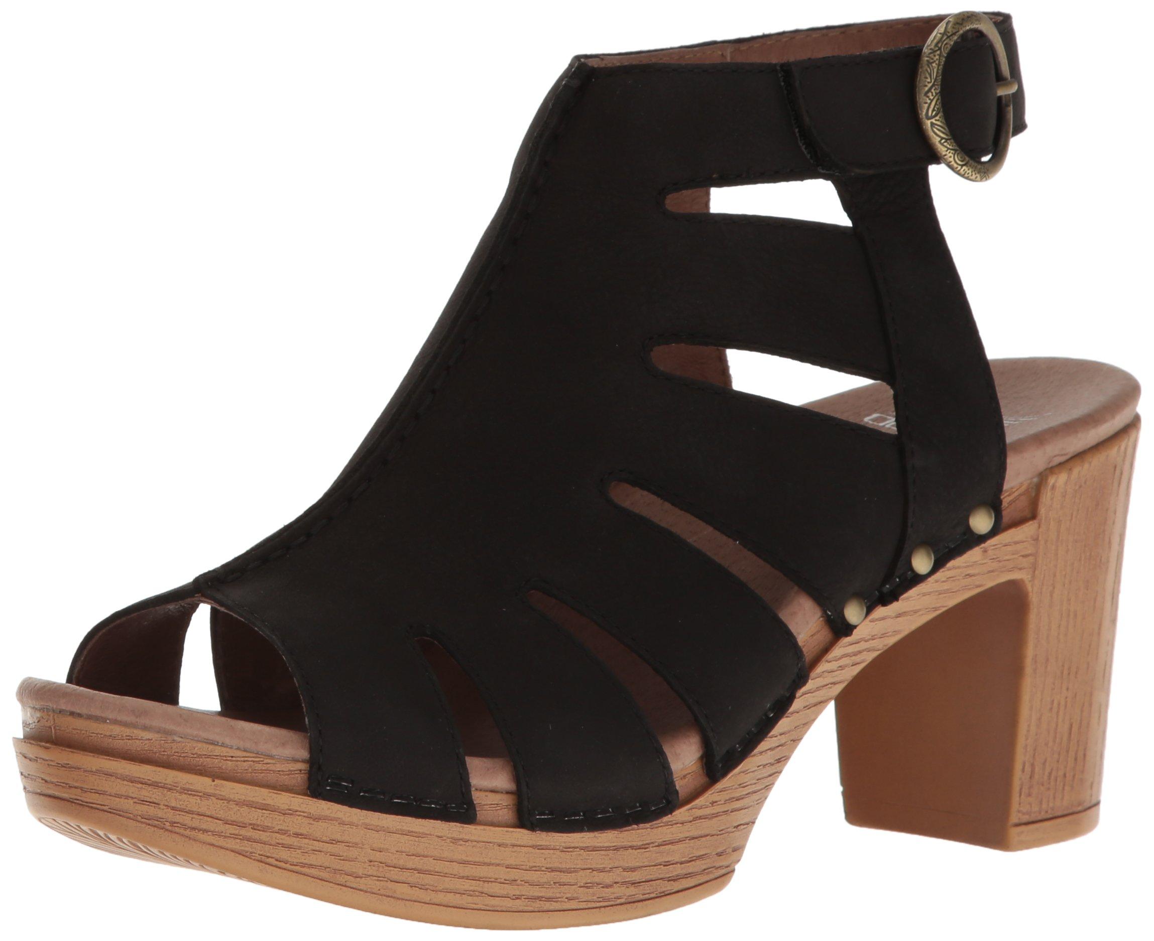 Dansko Women's Demetra Ankle Bootie, Black Milled Nubuck, 37 EU/6.5-7 M US
