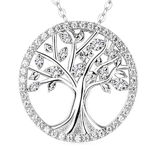 Amazon the tree of life necklace sterling silver simulated the tree of life necklace sterling silver simulated diamond pendant necklace fine jewelry for women 18quot mozeypictures Image collections