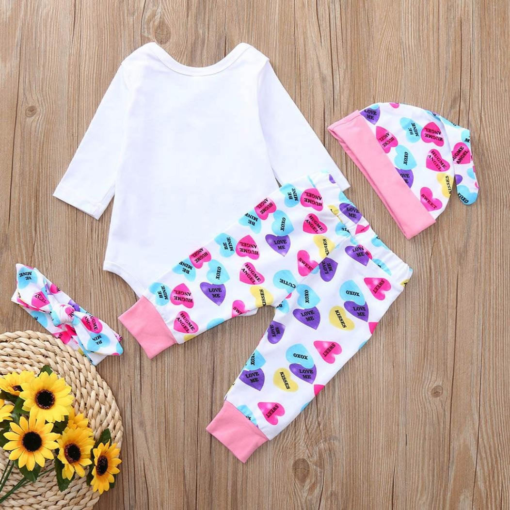 5240113a8db Amazon.com  Hatoys 3PCS Toddler Baby Boys Girls Letter Print Romper  Jumpsuit +Pants +Hat Outfits Set  Clothing