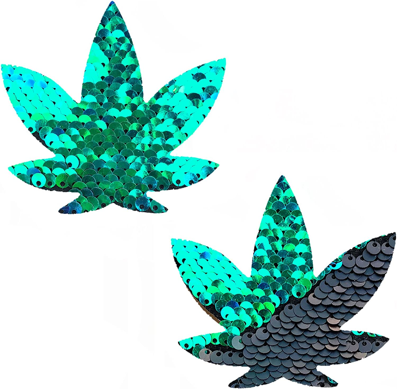 Neva Nude Ariel Green Black Sequin Weed Leaf Nipztix