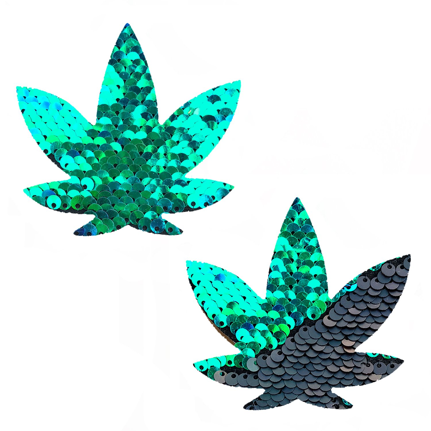 Neva Nude Ariel Green Black Sequin Weed Leaf Nipztix Pasties Nipple Covers