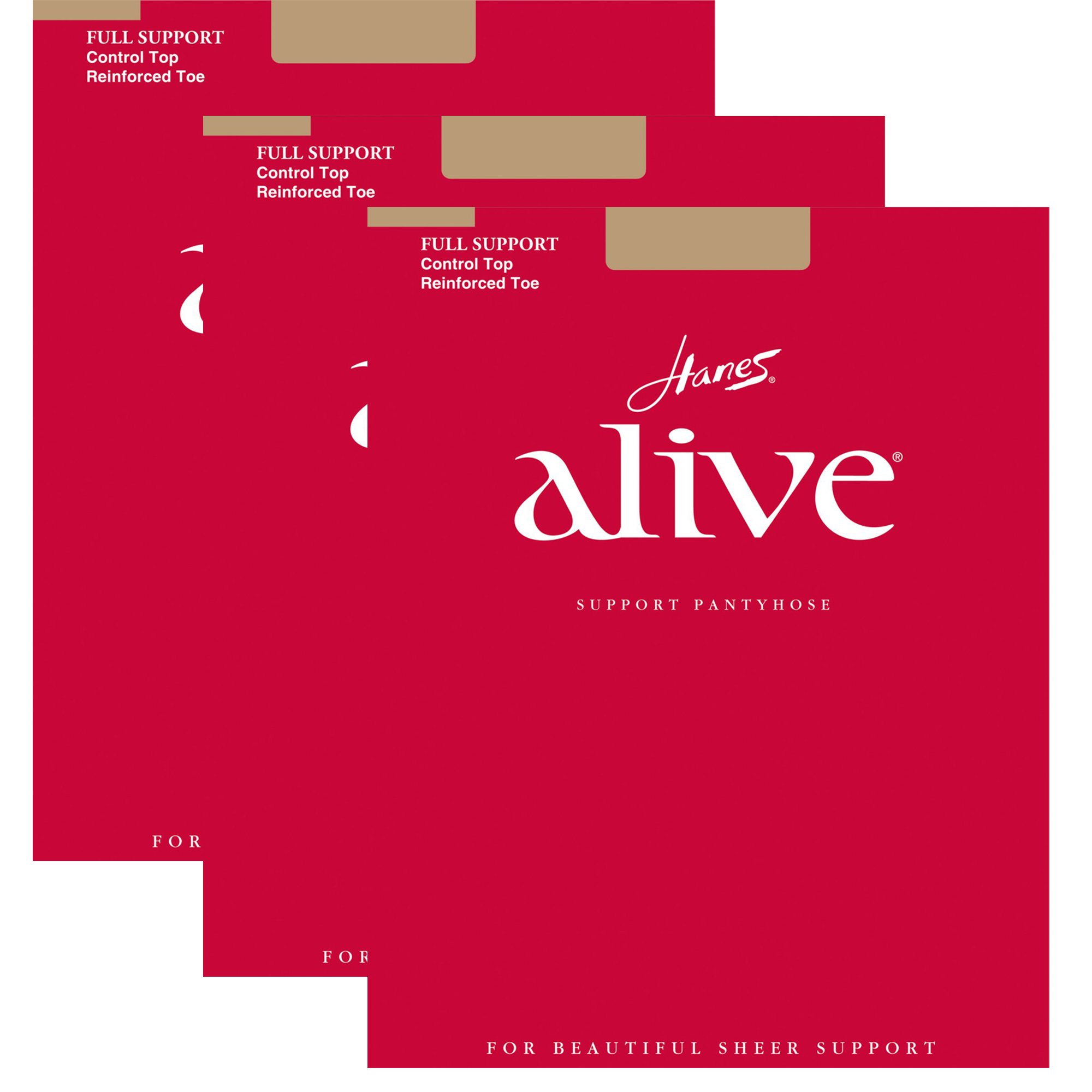 Hanes Womens Set of 3 Alive Full Support Control Top RT Pantyhose D, Little Color