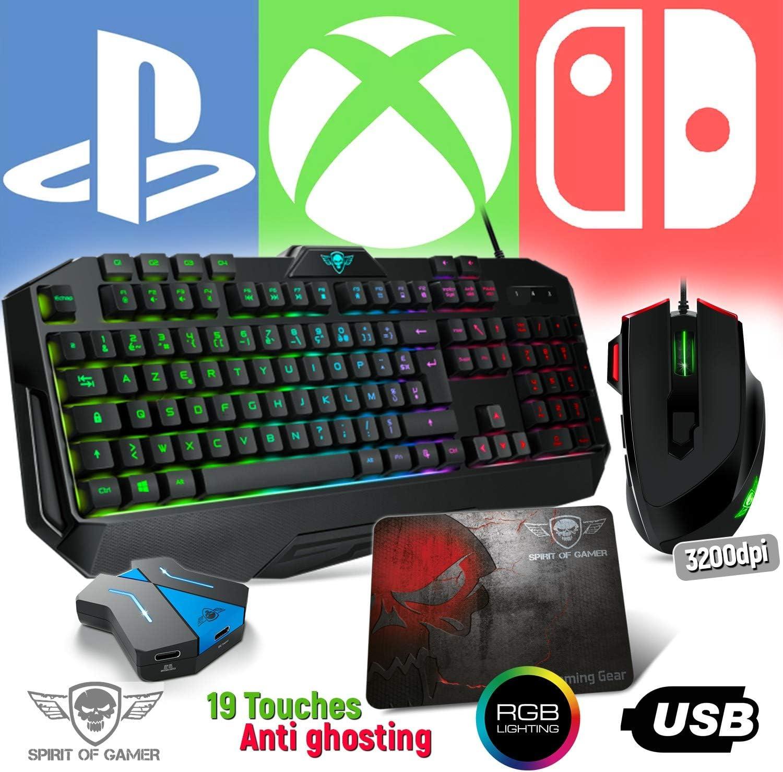 Spirit Of Gamer Pack Teclado Pro-K8, Ratón RGB y Alfombrilla Pro ...