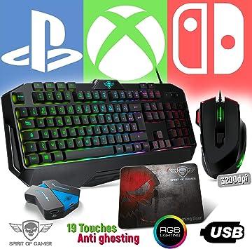 Spirit Of Gamer Pack Teclado Pro-K8, Ratón RGB y Alfombrilla Pro para PS4, Xbox One, Switch – Convertidor Incluido: Amazon.es: Electrónica
