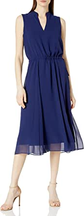 ANNE KLEIN Women's Drawstring MIDI Dress, Distant