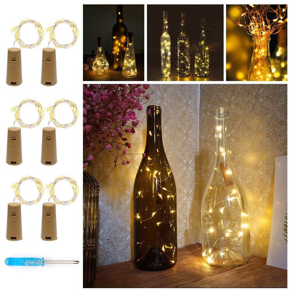 Loxmy - Luces para botellas, 6 unidades, luz blanca cálida ...