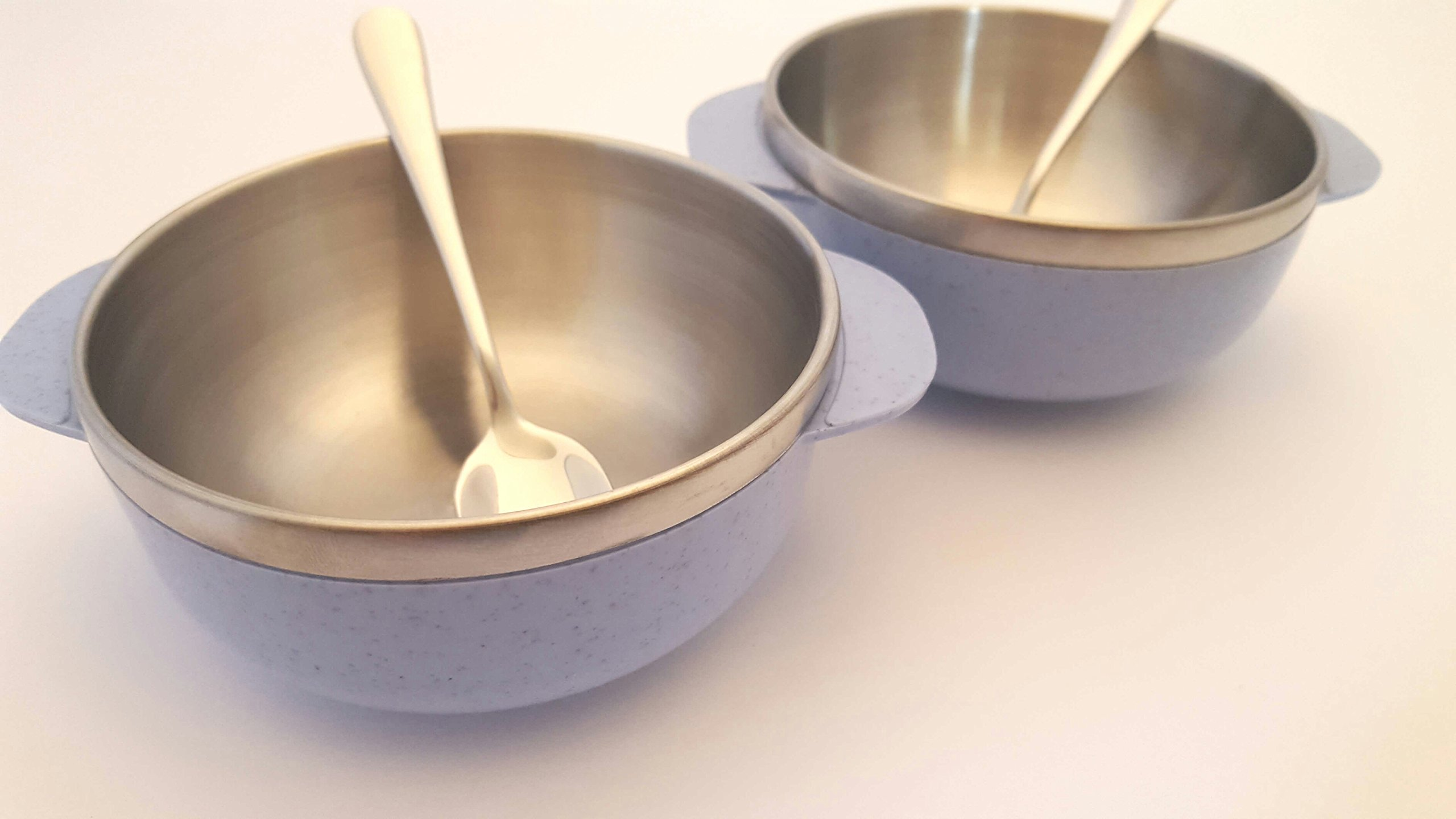 Dip Bowl Lightweight Stainless Steel for Sauces, Appetizers, Desserts, Rice, and Snacks, Set of 2 with Matching Spoons (Mist)