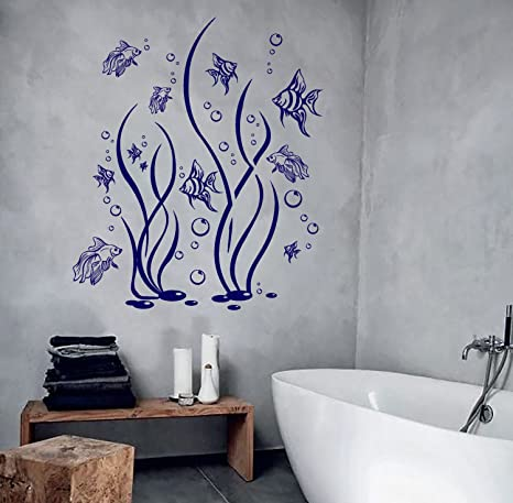 Amazon Com Wall Vinyl Decal Bathroom Decor Fish Seaweed And Bubbles Aquarium Focal Point Art For Bathroom Walls And Stick Wall Decals Home Kitchen