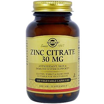 Solgar - Citrato de Zinc 30 mg, 100 Cápsulas Vegetarianas: Amazon.es: Salud y cuidado personal