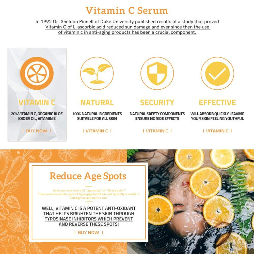 Vitamin C Serum For Face Eye Organic Anti Wrinkle With I 10ml Hyaluronic Acid And