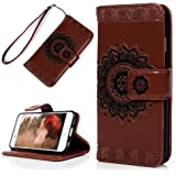 iPhone 6S/6 Wallet Case 4.7 inch, YOKIRIN PU Leather Henna Mandala 3D Relief Floral Embossed Folio Flip Full Protective Cover with Credit Card Holder Kickstand Magnetic Closure for iPhone 6/6S, Brown