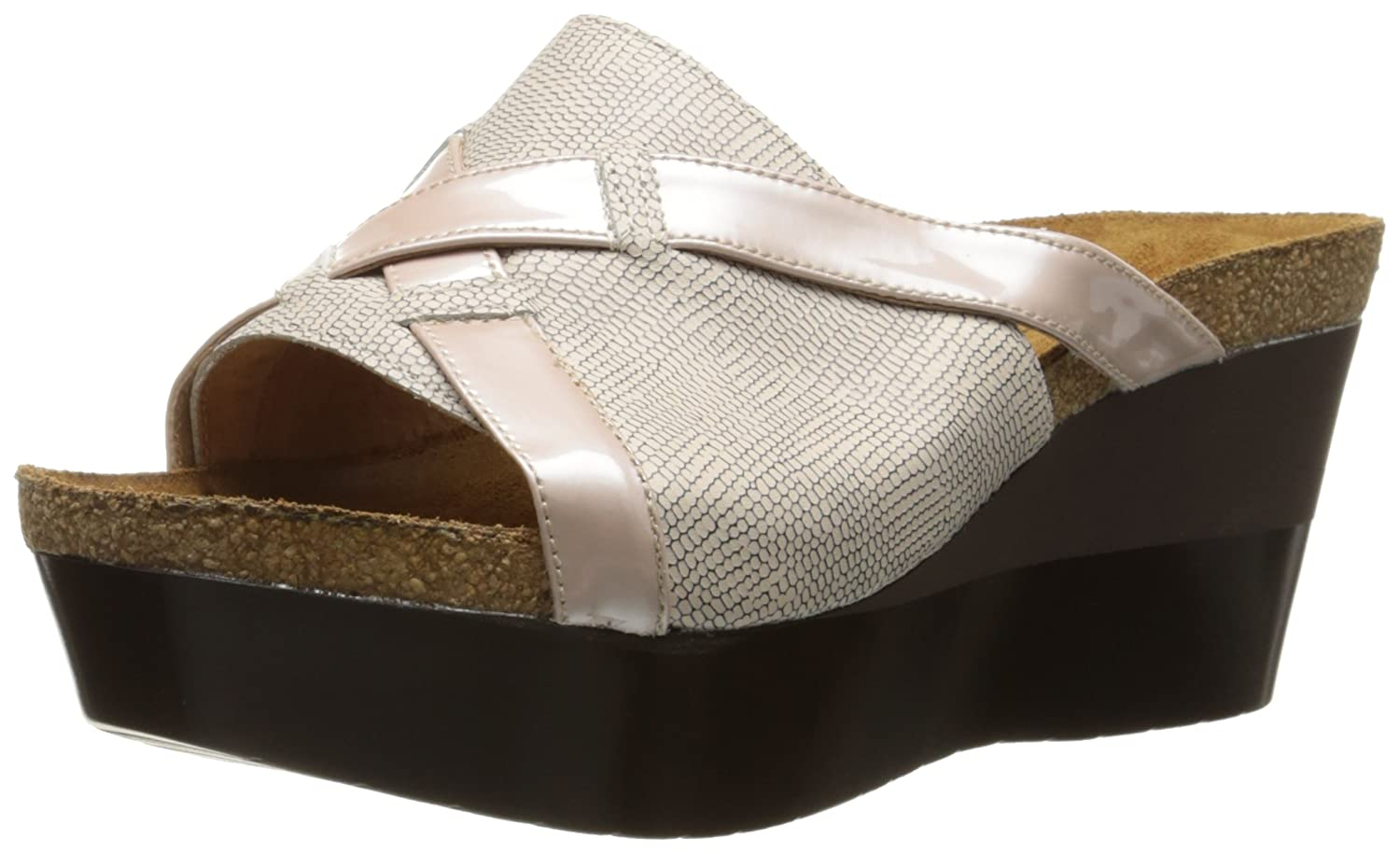 NAOT Women's Eve Wedge Sandal B00DS70ZDY 42 M EU|Colonial Beige/Satin Beige Patent