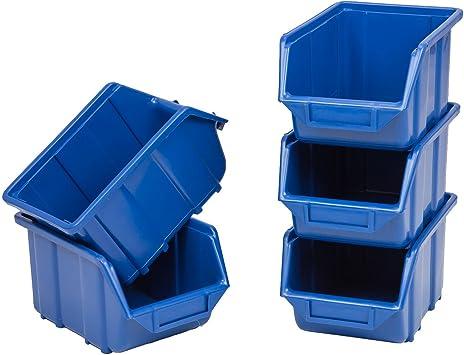 5 cajas cajas almacenamiento Visión Almacenamiento Caja Plástico PP 240 x 155 x 125 talla 2 azul: Amazon.es: Bricolaje y herramientas
