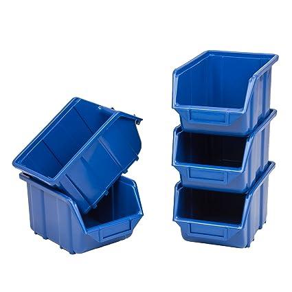 10 Cajas Cajas apilables Visión Sistema de almacenamiento Caja de almacenamiento de plástico PP 240 x