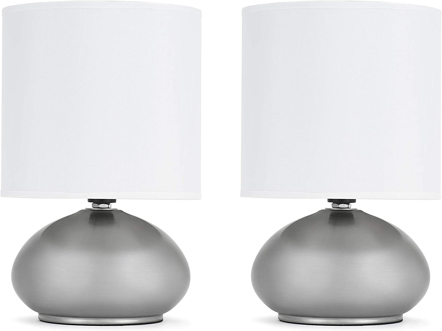 Catalina Lighting 18581 000 Transitional 2 Pack Matching Small Touch Table Lamp Set 9 25 Classic Brushed Nickel 2 Count